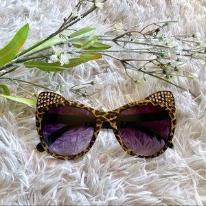 Betsey Johnson Leopard Cat Ear Bling Sunglasses